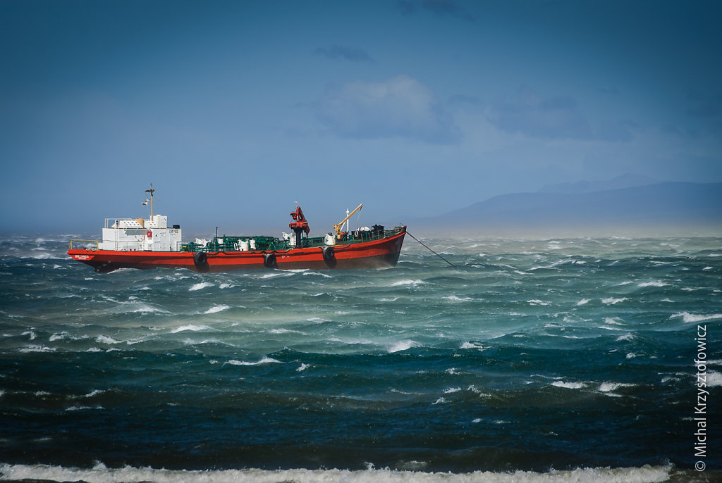 Strong winds in Strait of Magellan