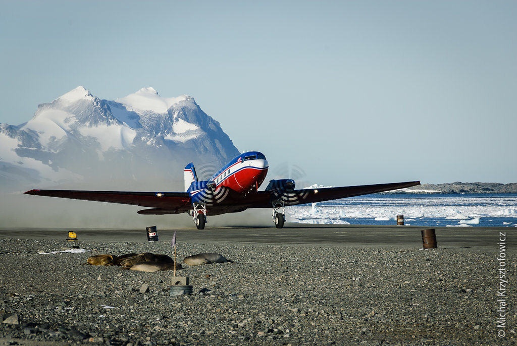 Canadian Basler taking off at Rothera